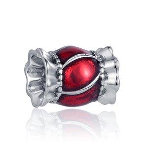 Новый день Святого Валентина подарок красный поцелуй любовь чарки бусины подходят оригинальные Pandora Charms Silver 925 женщин DIY изготовления ювелирных изделий аксессуары