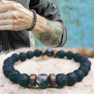 Beaded, Strands Men's Bracelet Natural Volcanic Stone Handmade Beaded Wrist Jewelry With Wooden Beads Gift For Women BN