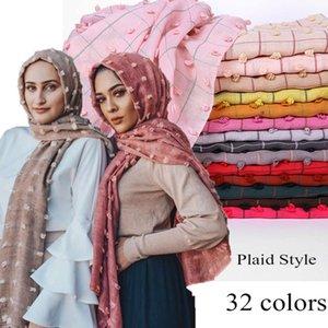 Plain Turkish style Pom Cotton Hijab Scarf Muslim Shawl Solid Color Plaid Scarf Headband Wrap Turban Shawls Scarves 10PCS Lotw