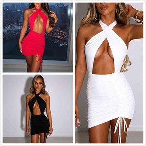 Летнее платье Женщины 2NECKLELLY HALLOW OUT OUT OUT WACK BACKSTRING Плиссированная юбка для женщин 3 цвета
