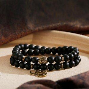 Beaded, Strands Prayer Lava Beads OM Bracelet Men Tibetan Buddhist Rosary Charm Mala Meditation Wooden For Women