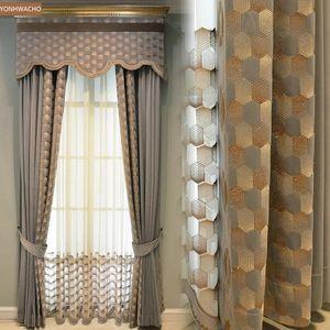 Curtain & Drapes Custom Light Luxury Flannel Embroidered Villa Living Room Bedroom Grey Cloth Blackout Valance Tulle Panel C695