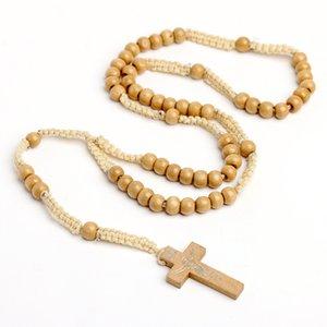 Ювелирные изделия ручной работы Оптом натуральные деревянные бусины христианские бусы ожерелье рукой плетение кросс ожерелье Иисус религиозные украшения