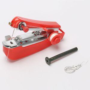 1 stück rote Mini-Nähmaschinen-Hand-Hand-Handkleidungs-Kleidung nützliche tragbare Nähmaschinen Handarbeit Werkzeuge Zubehör. # ERF