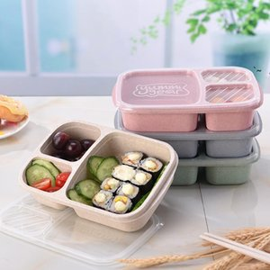 3 Grid Wheat Straw Lunch Box Microwave Bento Box Quality Health Natural Student Portable Food Storage Box Tableware Lunchbox BWE9389
