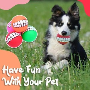 Funny Pets Dog Puppy Cat Ball Teeth Toy PVC Chew Sound Dogs Play Fetching Squeak Toys Pet Supplies Puppy Ball Teeth Silicone LLA7459