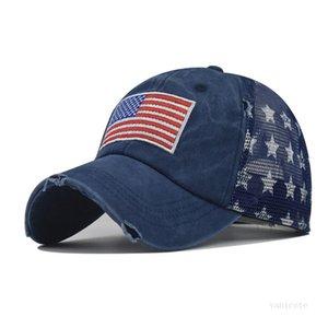 Chapeau de fête chapeaux chapeaux de cow-boy Trump American Baseball Casquettes lavées en détresse US Drapeaux Stars Mach Cap Sunshade T2i52360