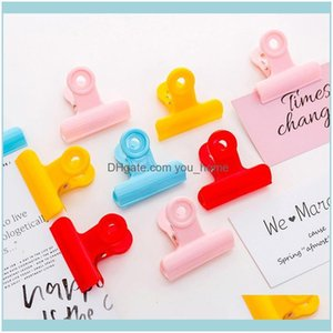 Filing Products Business & Industrial5Pcs Lot Grip 4Dot3*4Dot8Cm Clips Colorful Stainless Steel Plastic Ticket Stationery Bills Clip School