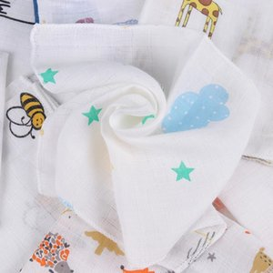 5 pañuelos, babero doble de algodón, dibujos animados, pañuelo de bebé, toalla de asador impreso