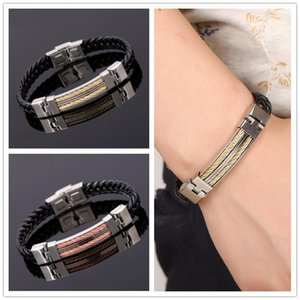 Charm Bracelets Woven Leather Rope Wrapping Vintage Style Classic Stainless Steel Men's Bracelet Genuine Design DIY Customizatio