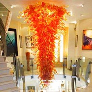 Lâmpadas pendentes Rústico laranja sombra mão soprada cadeia de vidro candelabro iluminação 160 '' personalizado grande LED pingente-luzes para casa decoração-l