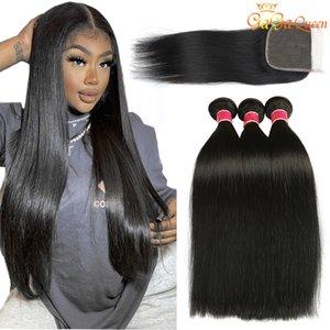 4x4 레이스 클로저 페루 말레이시아 인도의 머리카락 번들과 폐쇄 페루 버진 머리카락으로 페루 스트레이트 인간의 머리카락 번들