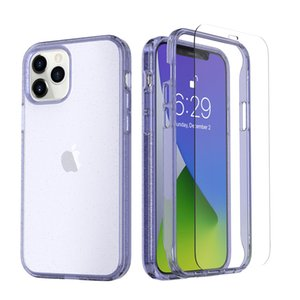 Bling Glitter 360 Full Body Clear Transparent Phone Cases Dual Layer Protective Cover with Tempered Glass Screen For iPhone 12 Mini 11 Pro Max XS XR X 8 7 Plus
