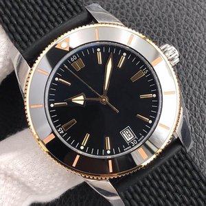 Классическая роскошная мужская и женская дайвинг Спортивные механические часы Автоматическое движение 46 мм, черный циферблат, резиновый ремень,