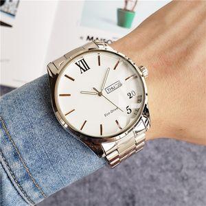 Mens 시계 쿼츠 운동 에코 스테인레스 스틸 스트랩 드라이브 시계 1 더블 캘린더 44mm 케이스 패션 손목 시계 방수 아날로그 시계 Orologio Di Lusso