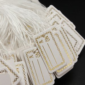 100Pcs lot Kraft Paper Tags Label Luggage Wedding Note +String DIY Blank price Hang tag Kraft Gift Silver Gold Colors Wholesale