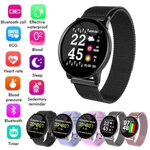 W8 Sport Smart Watch Armband Runde Bluetooths Wasserdichte Männliche Smartwatch Männer Frauen Fitness Tracker Handgelenk-Band für Android ios Smartphone
