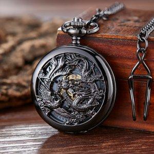 Ретро механические карманные часы Дракона Play Ball SteamPunk Скелет Рука-ветер Flip Clock FOB Часы с цепью двойной охотник подарок
