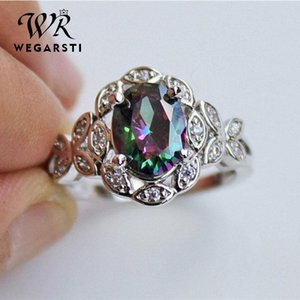 Cluster Rings WEGERSTI 925 Silver Jewelry Seven Rainbow Zircon Ring Originality Gradual Change Color Hollow Out Butterfly Support Palmer Sto