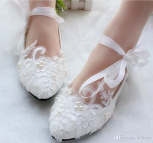 White Lace Bridal Flats Ribbon Strappy Shoes Low Heel Wedding Shoes Handmade Appliqued Pearls Chic Ladies Performance Flats