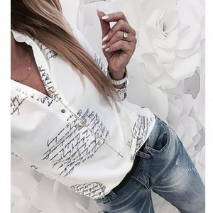 Women Fashion V Neck Long Sleeve Sexy Beach Blouse Shirts Casual Letters Printed Tops Slim Fit Shirts Plus Size #Zer 65oM#