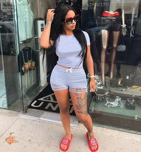 Women Two Piece Outfits 2021 Summer Clothes for Women Matching Sets Crop Top and Biker Shorts Suit Casual 2 Piece Tracksuit Set