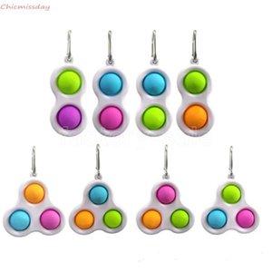 Crianças adulto push fidget sensory brinquedo simples covinho chaveiro anel 2 bolas keychain keychain stress relevo ventilação brinquedo saco pingentes dedo jogo brinquedos