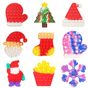 Christmas series pop toys press bubble poppers children's decompression toy Santa Claus Camo xmas tree glove kids Sensory Puzzle Squeeze Toy 2022 G69PFN9