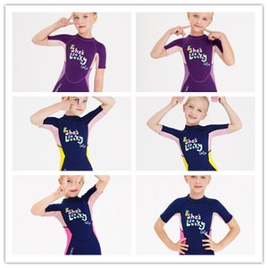 2021 Wetsuit Kids Girls 2.5mm Neoprene Suit Children Scuba Diving Suits Full Length Wetsuits Toddler One Piece Swimsuit Rash Guard