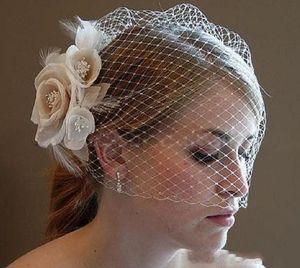 Handmade Vintage White Flower Bridal Short Face Veil Beaded Birdcage Veil Headpiece Head Veil Wedding Bridal Accessories
