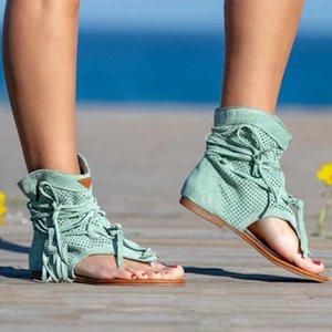 Femmes Open Bottes Toe Bottes respirantes Sandales à la mode Plat bas creux Strap Tassel Creux Clip Clip Clip Roman
