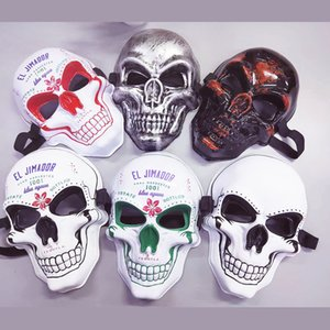 Scary Masks Halloween Festival Cold Light Masquerade Ghost Head Terror Human Skeleton Modeling Facepiece New Arrival 4 2yd L1