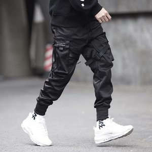 Joggers Men Black Tactics Cargo Pants Hip Hop Streetwear Pencil Sweatpants Ribbon Pocket Trousers Elastic Waist HG094 Men's