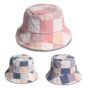 Unisex Winter Warm Fuzzy Plush Bucket Hat Color Block Plaid Print Fisherman Cap Wide Brim Hats