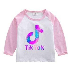 Tik Tok Kids T-shirt 2021 Spring Autumn Tiktok Print Children Long Sleeved Tee Bottoming Shirt Round Neck Patchwork Tops Clothing G4YAPEQ