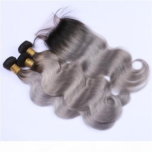 Two Tone 1B Grey Ombre 4x4 Lace Closure With 3Bundles Body Wave Black and Silver Grey Ombre Peruvian Human Hair Weaves With Closure