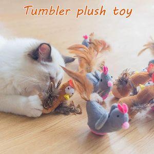 Cat Toys Plush Tumbler Toy Kitten Kicker Scratching Interactive Teaser With Feather False Animals Dog Pet Training