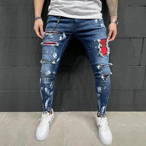 Male Clothing Men's Skinny Jeans Ripped Hole Red Patchwork Design Pencil Denim Trousers Slim Patch Plaid Pants Trend Vintage Men