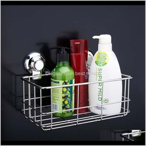 Stainless Steel Strong Suction Shower Dual Sucker Bathroom Shelf Washing Roomkitchen Corner Wall Mounted Rack Exqph Storage Holders Ra F4Eul