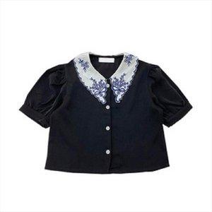 فتاة أزياء الصيف قصيرة الأكمام بلوزة مع التطريز طوق أطفال الأطفال قميص