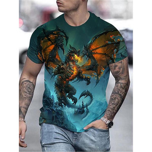 Men's Dragon T Shirts Summer Fashion Animal Printing Tshirts Casual Loose Print Tees Youth Phoenix 3D Digital Pattern Tops
