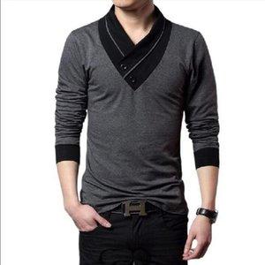 Marke Mode Männer Button Dekoration T-Shirt Patchwork V-Ausschnitt Langarm Slim Fit Plus Größe 5XL Herren T-Shirts