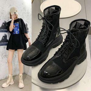 Сандарная марлевая галстука из Мартина Прохладный сапоги женские сандалии летнее Универсальные французские толстые высокие каблуки черные туфли