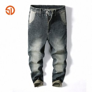 Случайные мужские джинсы брюки мульти грузы широкогазовые джинсы для мужчин хип-хоп мешку Homme джинсовые брюки гарема длинные брюки 14VB #