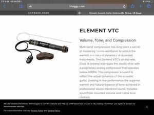 LR Baggs Element Active System Undersaddle Pickup EAS-VTC-N Volume Tone - Nylon