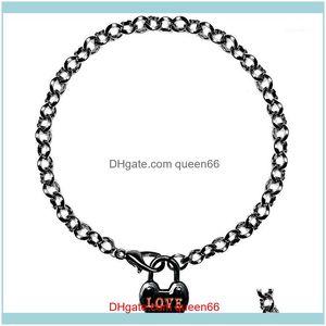 Charm Jewelrycharm Bracelets Tiny Love Heart Tag Femme Chain Link Romantic Women Graduation Tiffan Jewelry Bridesmaid Gift1 Drop Delivery 20