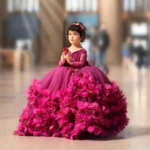 Fuchsia Puffy Tulle Girl Dresses Lace Handmade Flower V Neck Kids Pageant Dress Long Sleeve Girls Birthday Party Gowns
