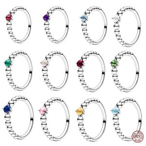 sale 925 Sterling Color Beaded Female 925 Silver Brand Ring Jewelry 12 Colors