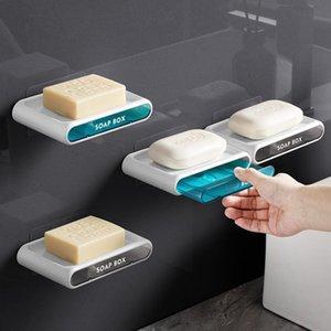 Soap Dishes Wall Mounted Drawer Box Drain Sponge Holder Storage Rack For Kitchen Bathroom Accessories Toiletries Organizer Set