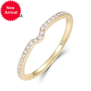 Kuololit 10K Yellow Gold 100% Natural Moissanite Gemstone for Women Handmade Eternity Band Rings Engagement Fine Jewelry